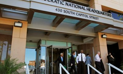 His file photo dated Tuesday, June 14, 2016, shows the entrance to the headquarters of the Democratic National Committee (DNC) in Washington.